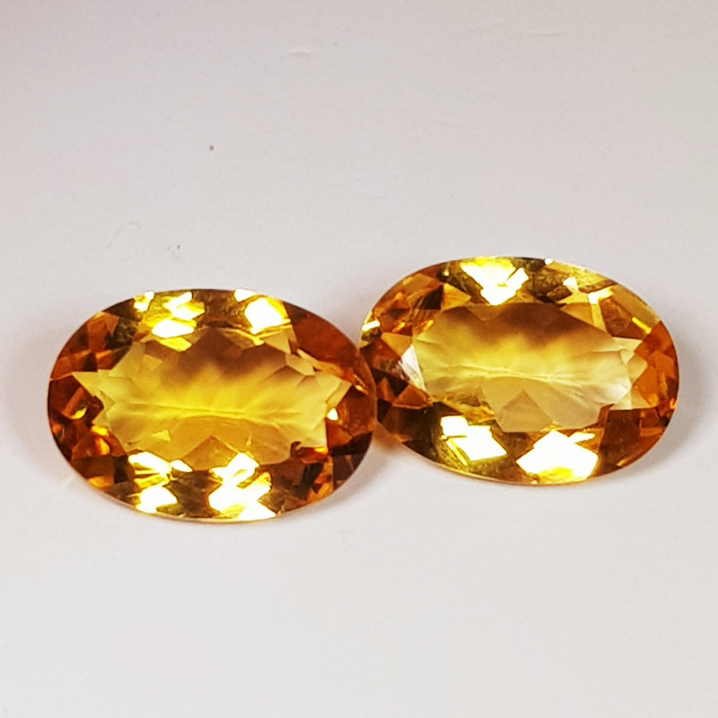 Parcel Pair of 3.40 ct Top Quality Gem Oval Cut Natural Citrine