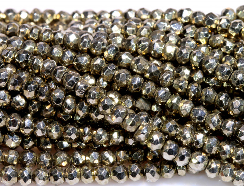53.00 - CTS FACETED PYRITE  BEADS STRAND NP-2803