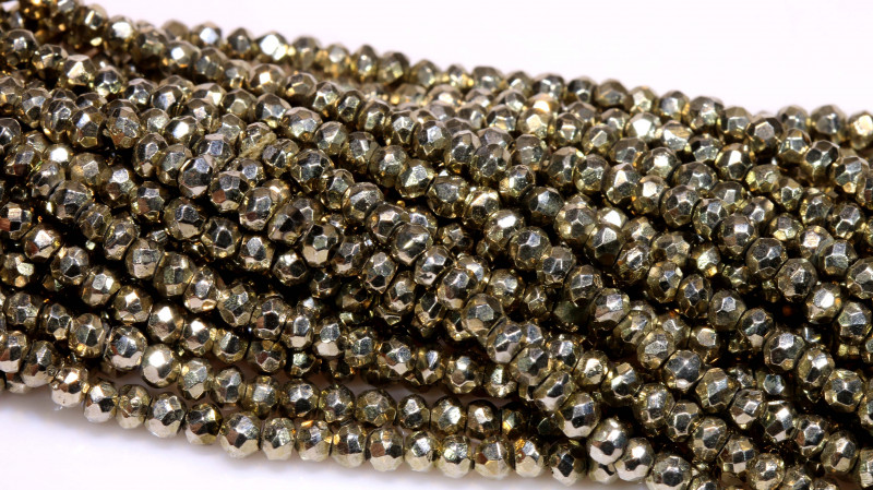 53.00 - CTS FACETED PYRITE  BEADS STRAND NP-2810