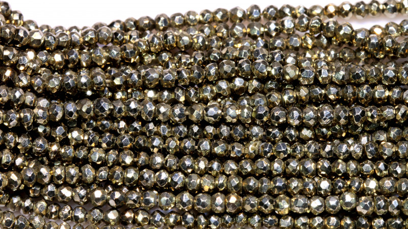 53.00 - CTS FACETED PYRITE  BEADS STRAND NP-2816