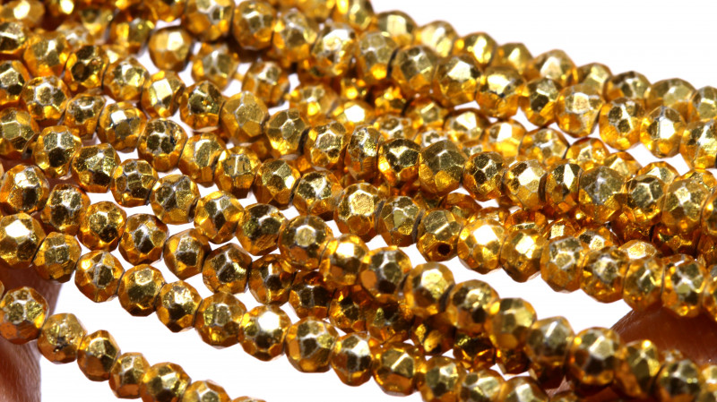 53.00 - CTS FACETED PYRITE  BEADS STRAND NP-2834