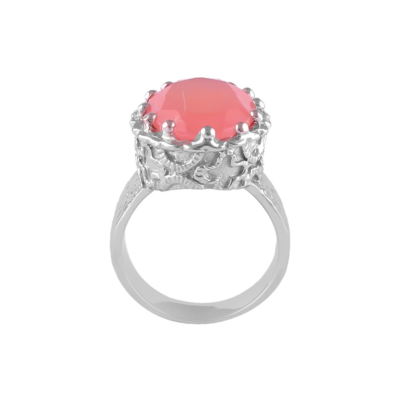Rose chalcedony 925 Sterling silver ring #36134