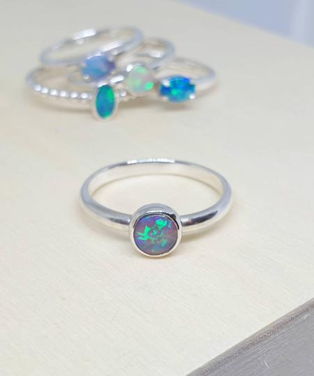 Dark Crystal Opal Solid Sterling Ring - 7.25