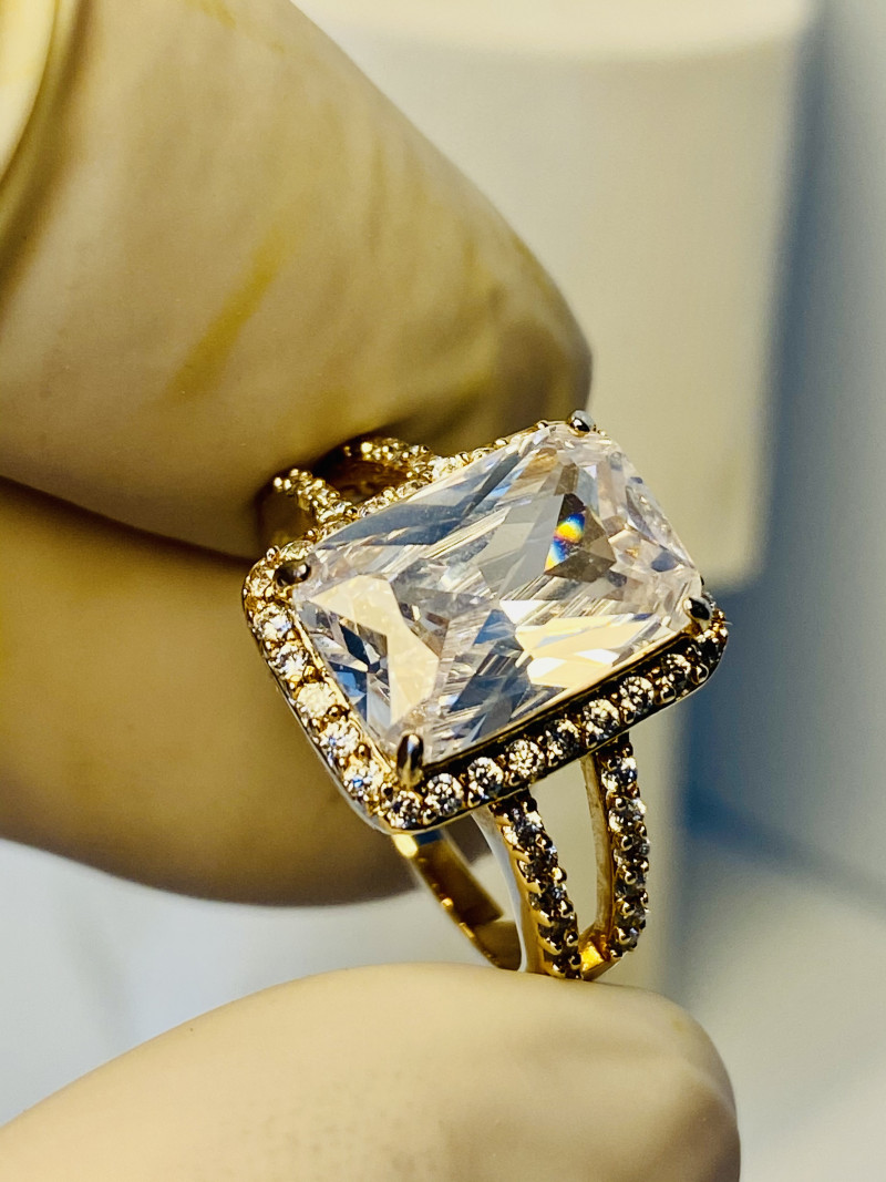 ROCK CRISTAL CZ RING WITH Silver Gold plated -   , FROM COLLECTOR- UNUSED!