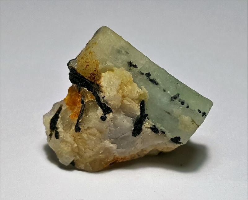 Amazing Natural color Damage free Aquamarine with Tourmaline specimen  30Ct