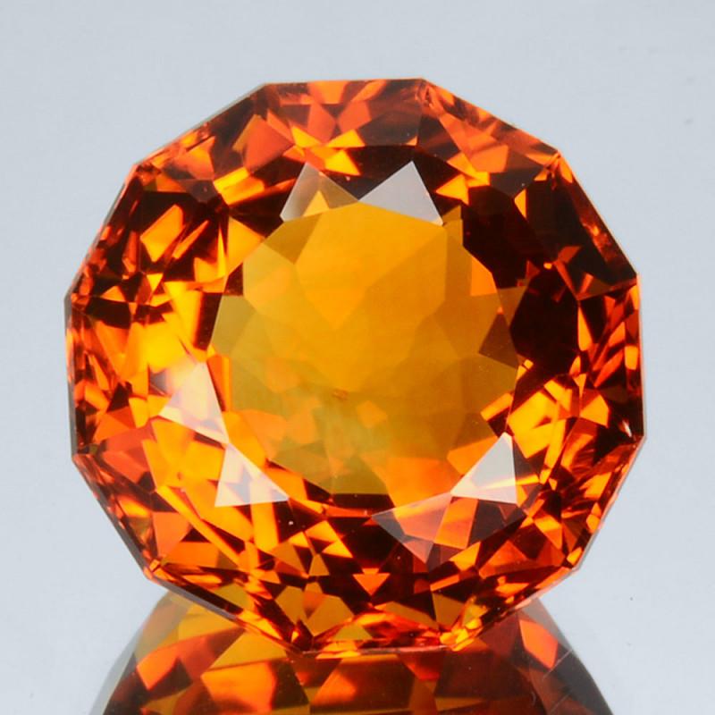 ~CUSTOM CUT~ 11.90 Cts Natural Golden Orange Citrine Fancy Round Brazil