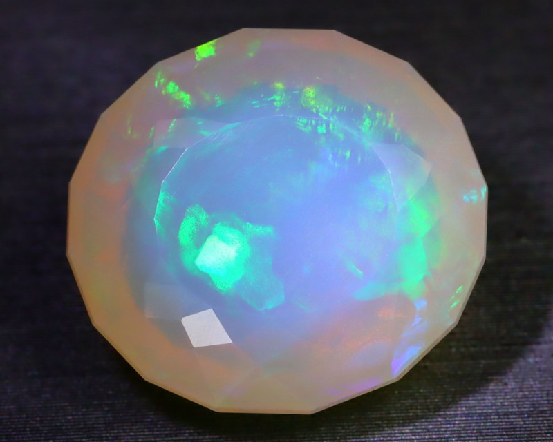 8.13Ct Chaff Patchwork Pattern Bright Neon Flash Play Welo Opal B2004