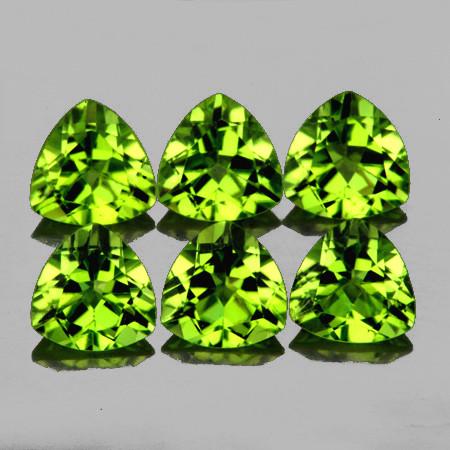 5.00 mm Trillion 6 pcs 2.85cts Green Peridot [VVS]
