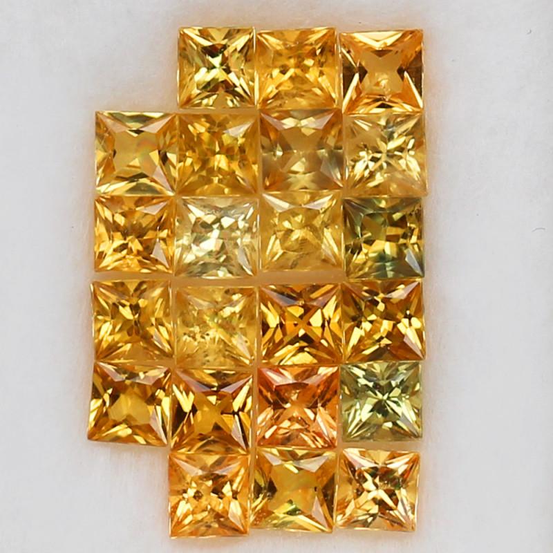 3.98 ct. 3.1MM. 22 Pc   PRINCESS CUT GOLDEN YELLOW NATURAL  SAPPHIRE