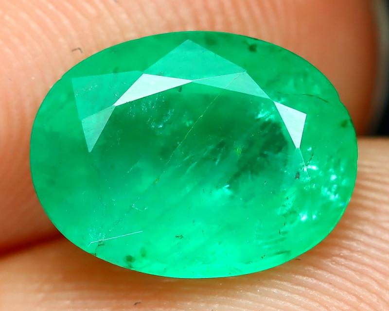 Emerald 1.57Ct Oval Cut Natural Zambian Green Color Emerald A2202