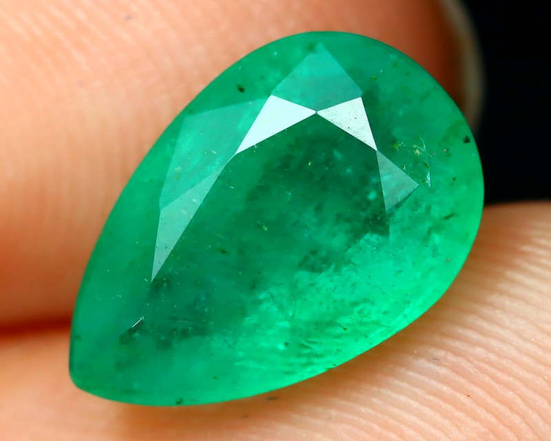 Emerald 2.19Ct Pear Cut Natural Zambian Green Color Emerald A2206