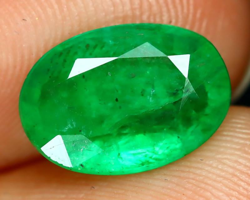 Emerald 1.60Ct Oval Cut Natural Zambian Green Color Emerald A2218