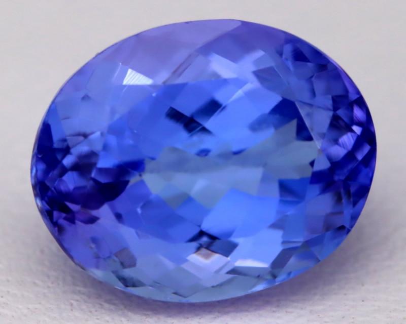 4.91Ct Natural Vivid Blue Tanzanite IF Flawless Oval Master Cut B2307