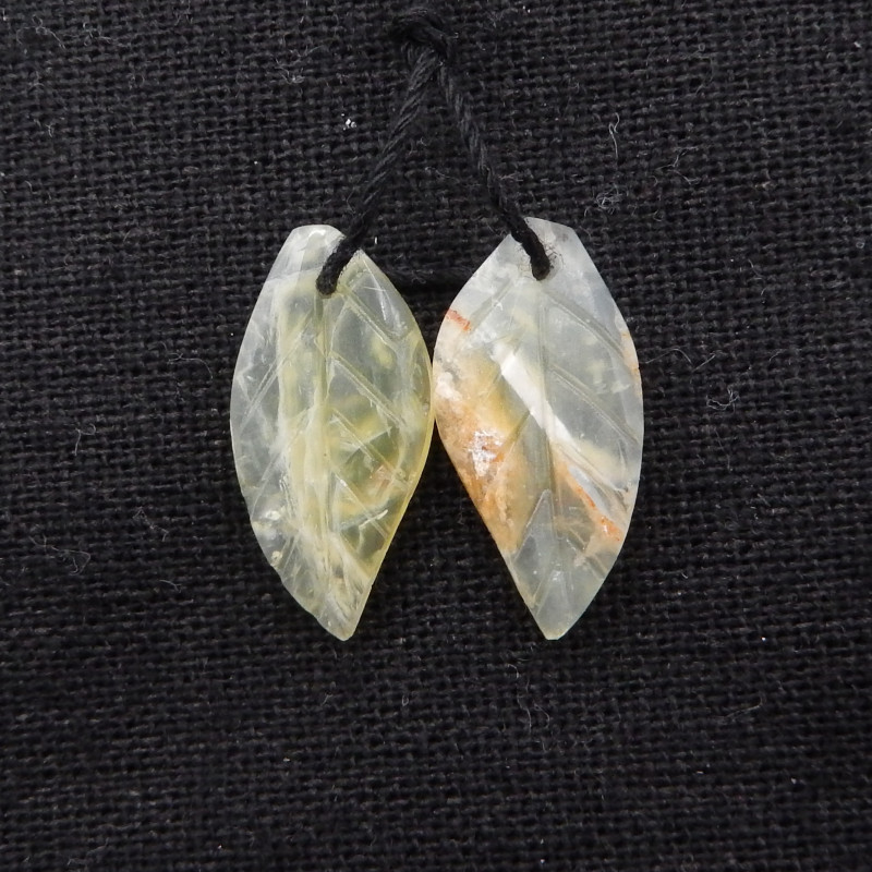 10ct New Design Natural yellow opal Carved Leaf Earring Pair H1858