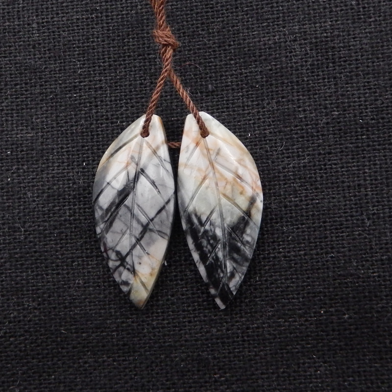 21ct New Design Natural picasso jasper Carved Leaf Earring Pair H1859