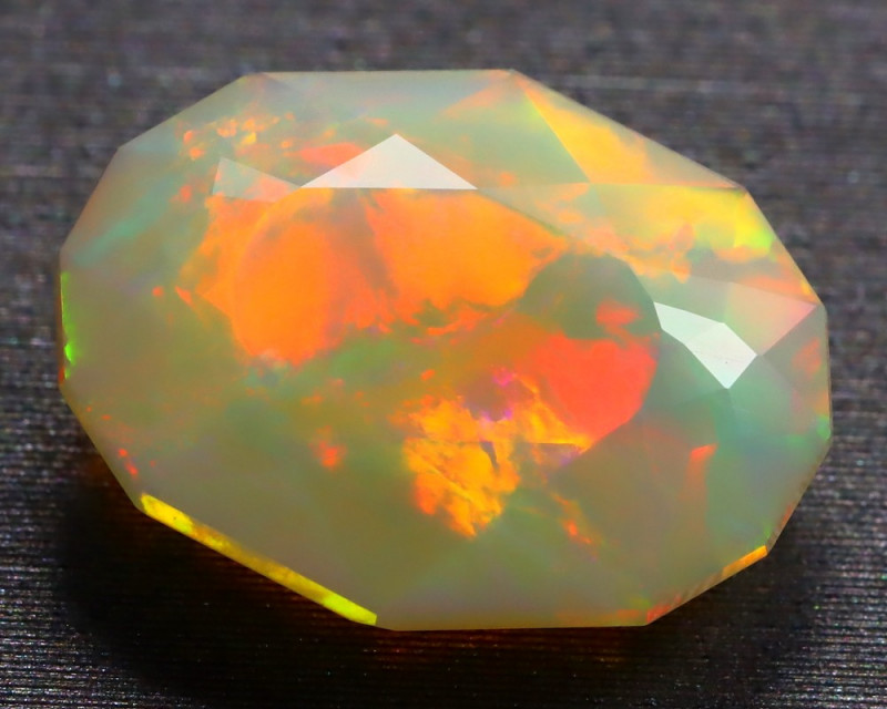 2.95Ct Patchwork Puzzle Pattern Neon Flash Facted Welo Opal B2201