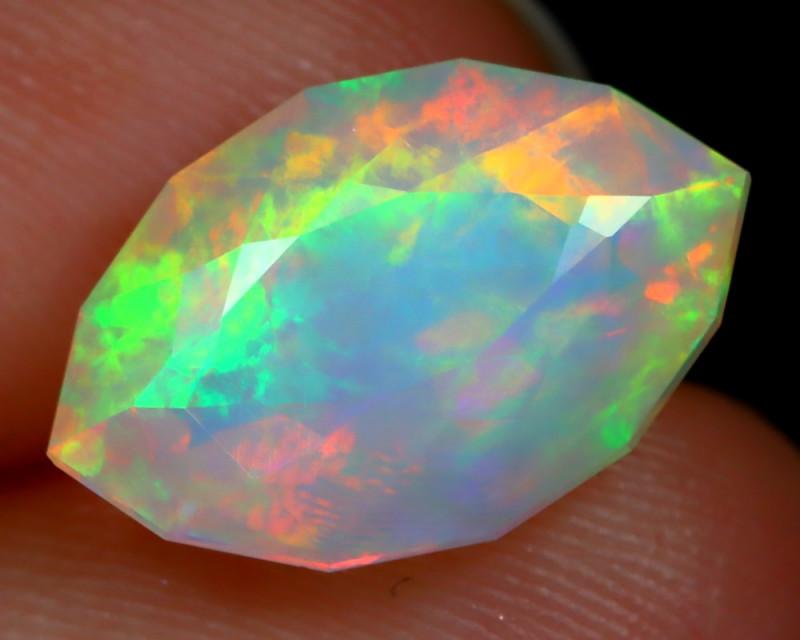 2.81Ct Aurora Pattern Metallic Rainbow Flash Faceted Welo Opal B2211