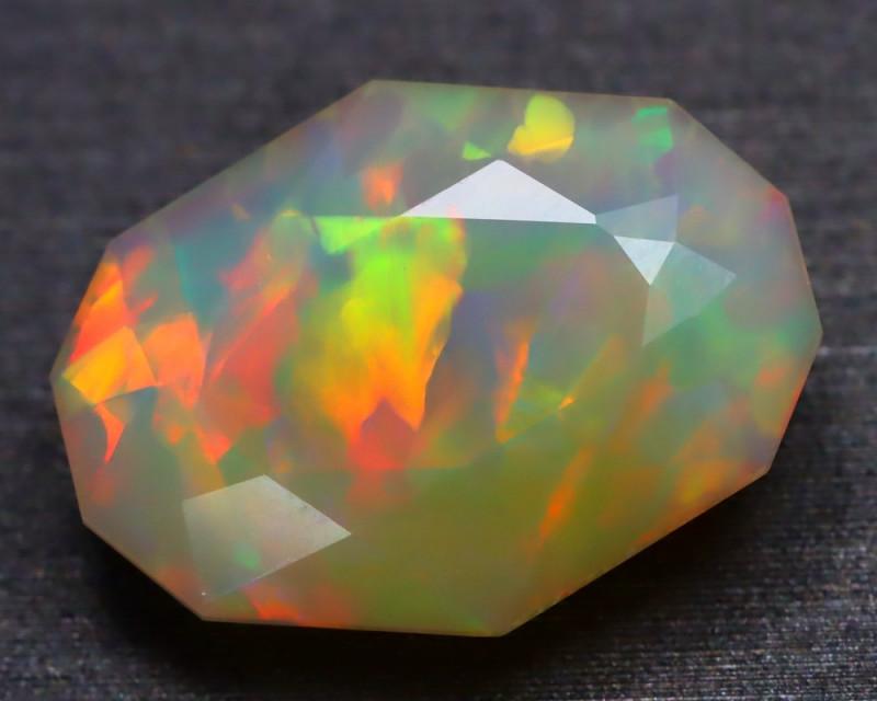 3.82Ct Ribbon Broad Flash Pattern Rainbow Flash Facted Welo Opal B2216