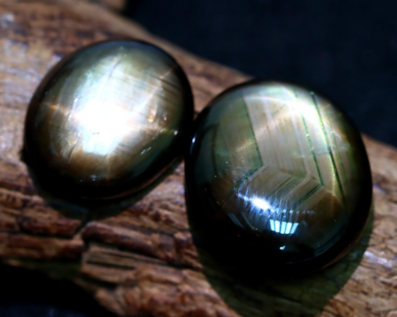 Sapphire 26.97Ct 2Pcs Natural 6 Rays Black Star Sapphire C2209