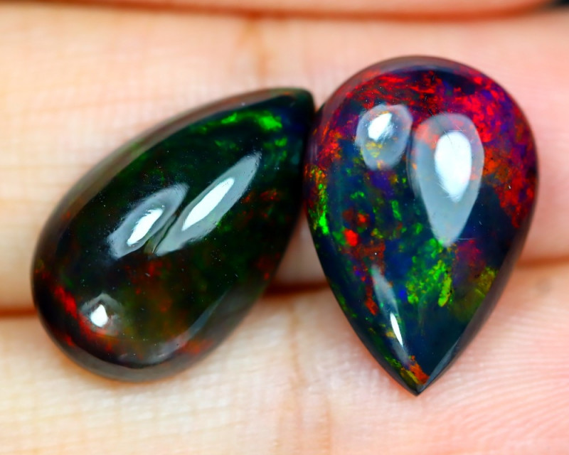 Opal 7.02Ct Natural Bright Color Play Welo Black Smoked Opal C2214