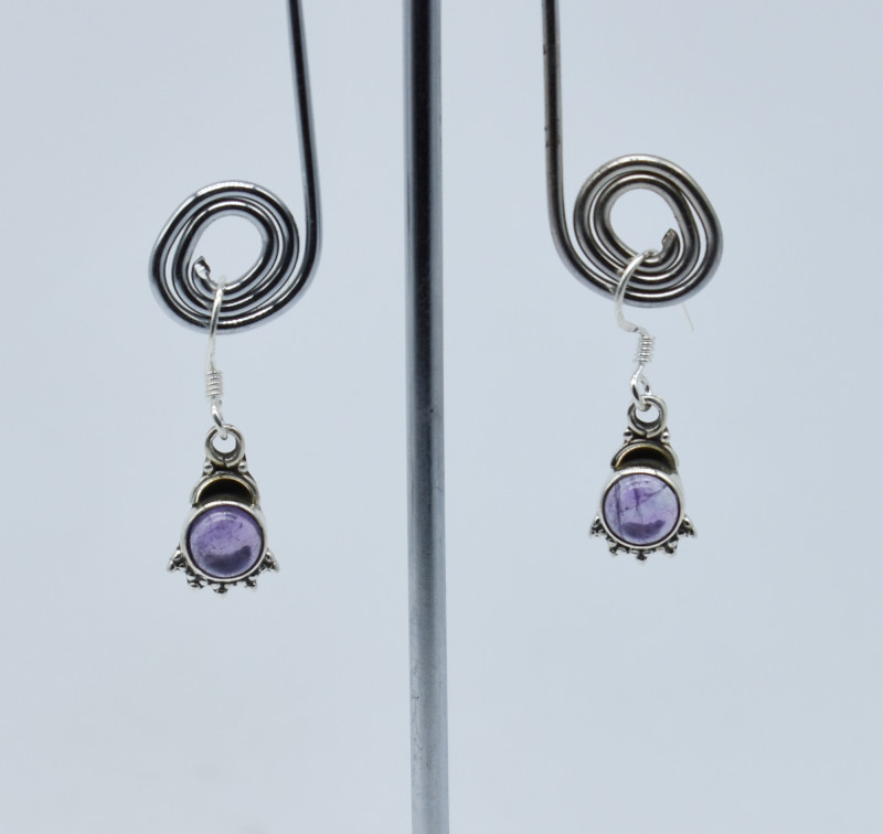 AMETHYST  EARRINGS 925 STERLING SILVER NATURAL GEMSTONE E127