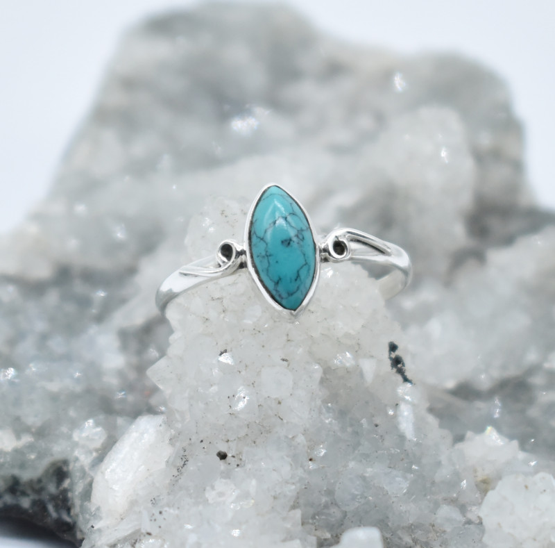 TURQUOISE RING 925 STERLING SILVER NATURAL GEMSTONE JR1168
