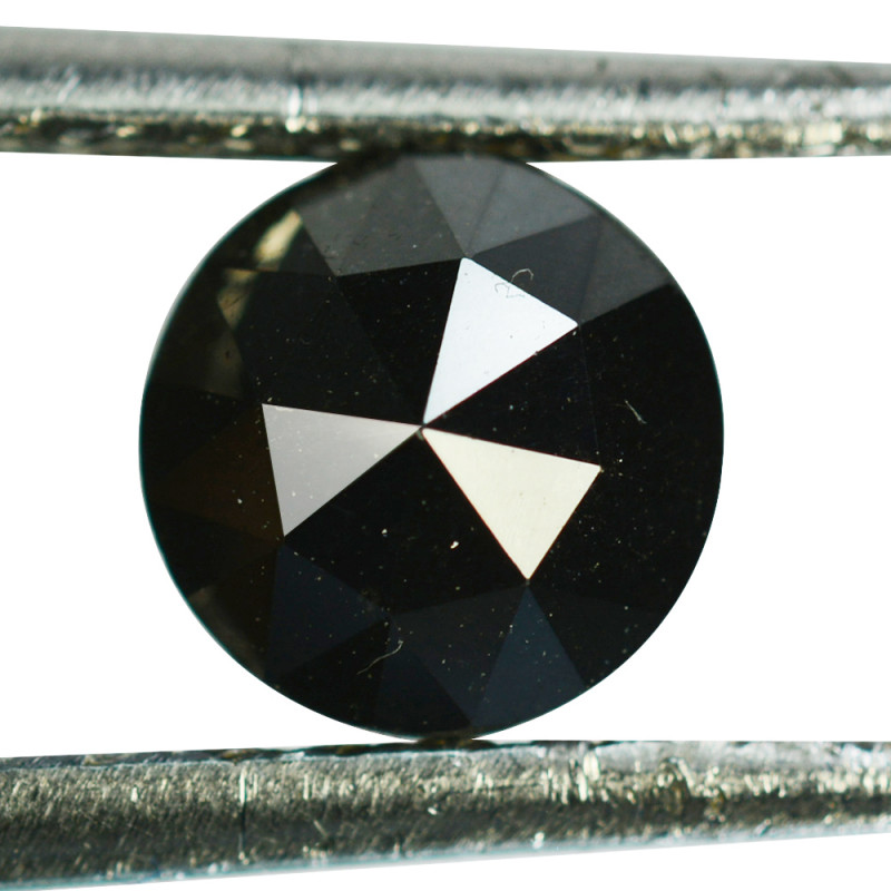 1.51Cts Natural Black Diamond Round 6.50mm (Rose Cut) Africa