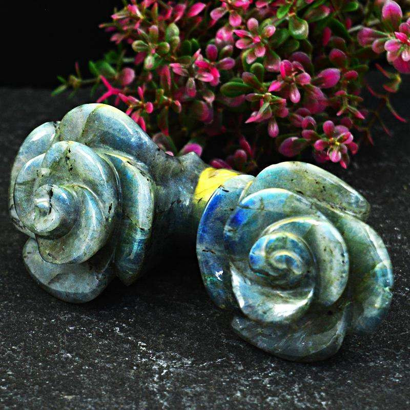Genuine 680.00  Cts Labradorite Hand Carved Rose