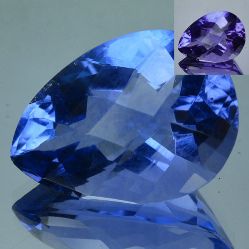 13.15 Cts Beautiful Natural Color Change Fluorite Pear Cut Afghanistan