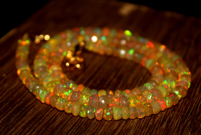 45 Crt Natural Ethiopian Welo Faceted Opal Necklace 252