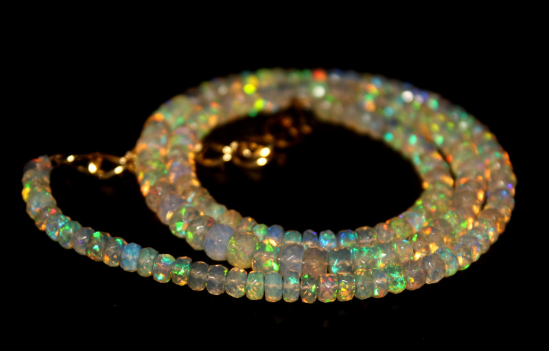 42 Crt Natural Ethiopian Welo Faceted Opal Necklace 229