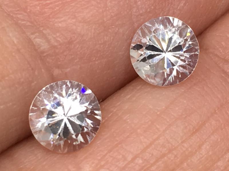 2.75 Carat VVS Zircon Pair Brilliant Diamond White Flash !