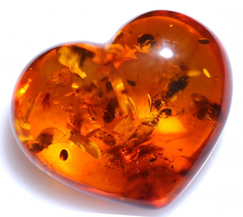 22 Cts Lovers Heart Natural  Amber Beads  from Poland  code CCC2919