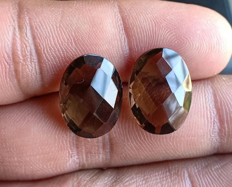 Smoky Quartz Checkered Cut Pair 100% Natural Gemstones VA5324