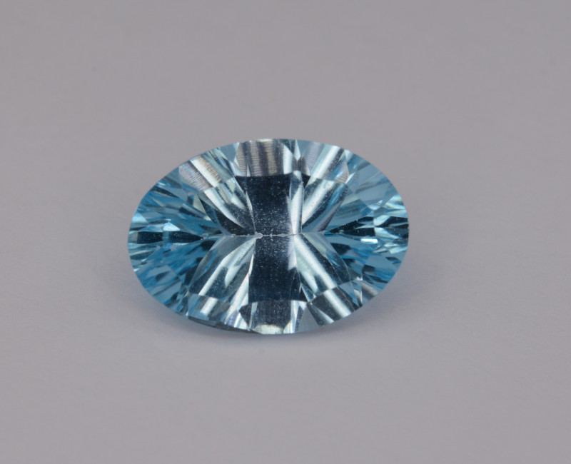 Natural Blue Topaz 4.18 Cts Concave Cut.