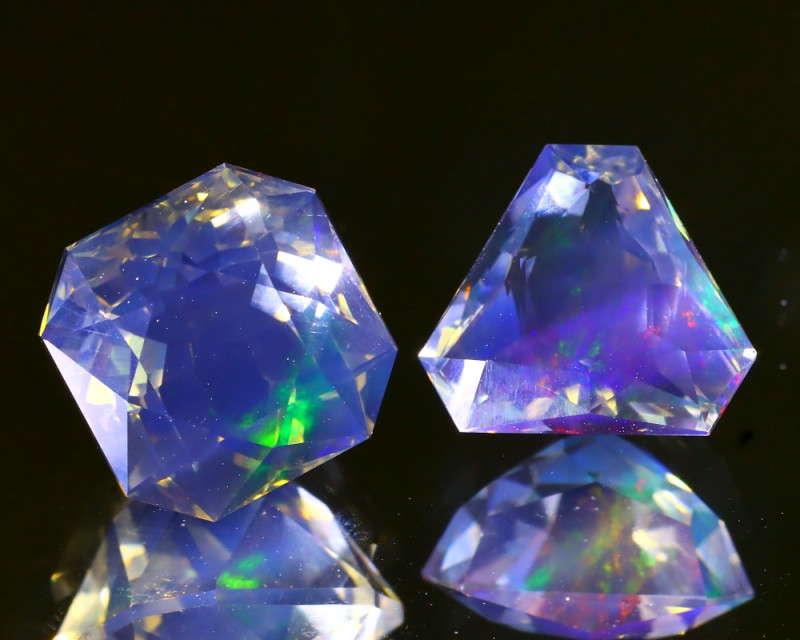 7.16CtCt 2Pcs ContraLuz Flash White Crystal Faceted Fire Opal A0208