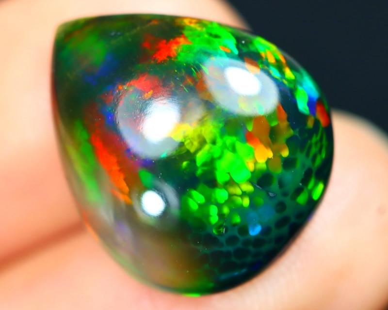 Opal 6.85Ct Honeycomb Floral Rainbow Flash Welo Black Smoked Opal A0101