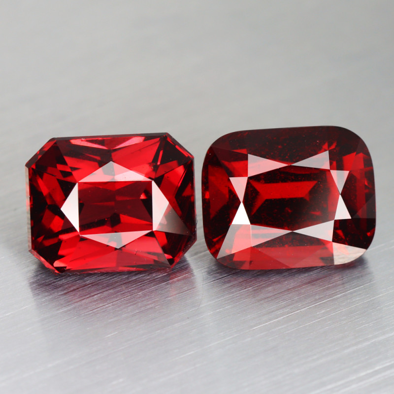12.390 CT GARNET BLOOD RED 100% NATURAL UNHEATED 11 x 9 MM 2 PC SRI LANKA