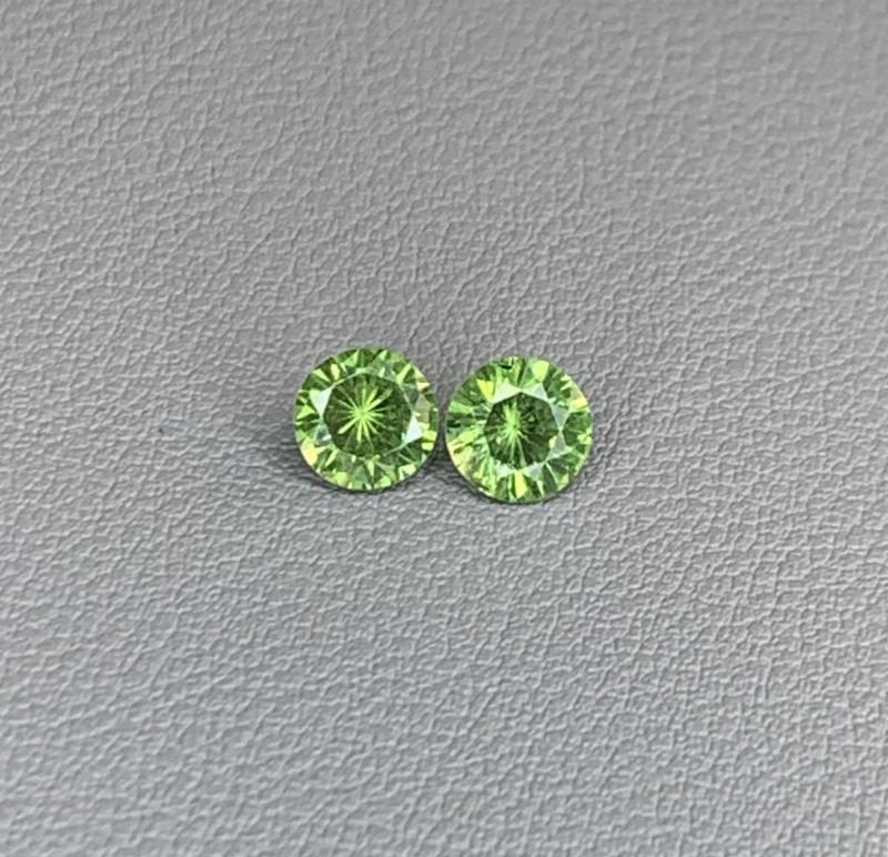 Natural Demantoid Garnet Pair 2.09 Cts, Full Sparkle Faceted Gemstone