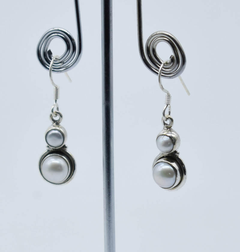PEARL EARRINGS 925 STERLING SILVER NATURAL GEMSTONE E139