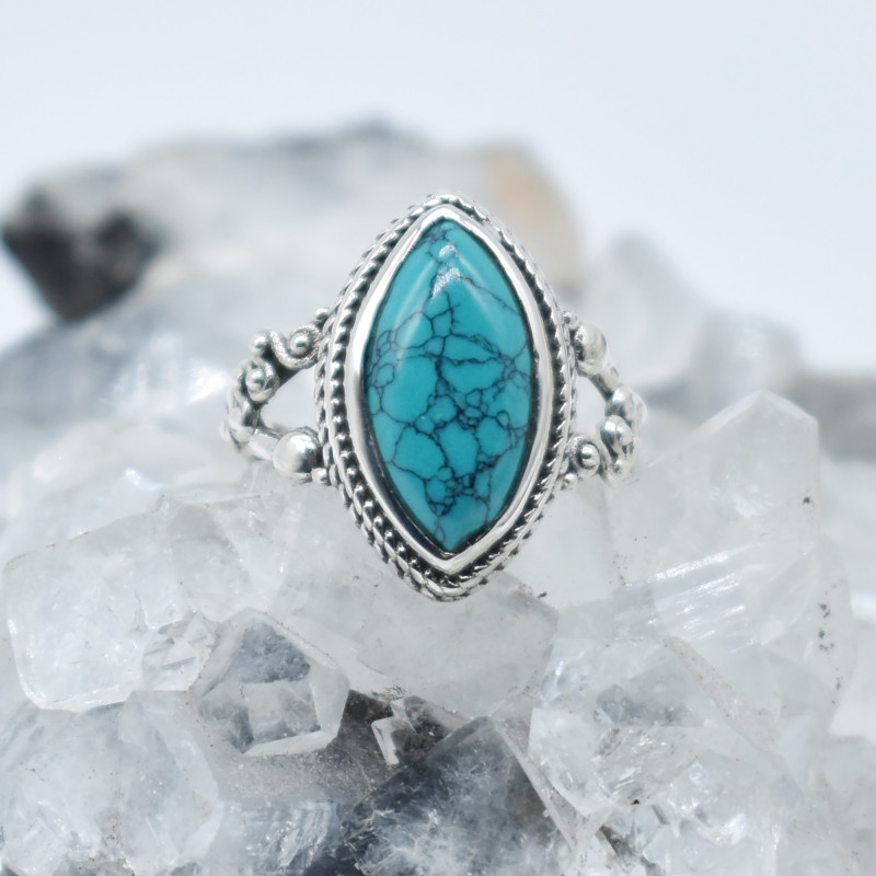 TURQUOISE RING 925 STERLING SILVER NATURAL GEMSTONE JR1144