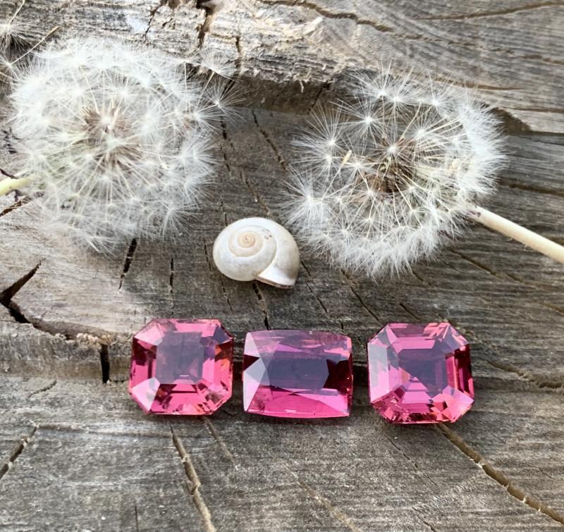 31.85 carats natural step cushion and Asschers cut rubelite gemstones