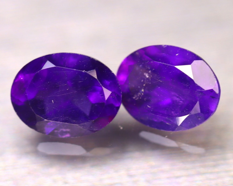 Amethyst 3.27Ct 2Pcs Natural Uruguay Electric Purple Amethyst E0715/A2
