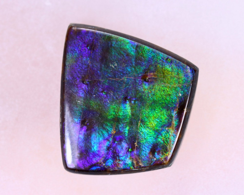 14x13mm,  7.40cts Natural Canadian Ammolite Stone / MA1517
