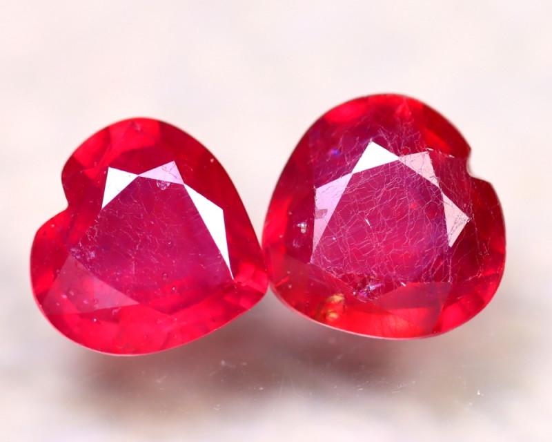 Ruby 4.55Ct 2Pcs Heart Shape Madagascar Blood Red Ruby DN73/A20