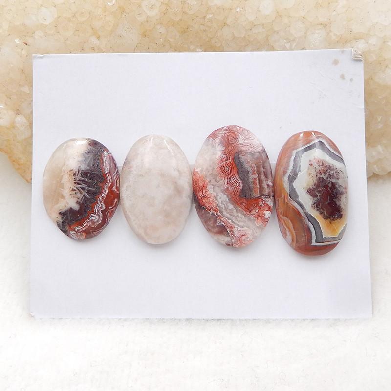 55Cts 4 Pieces Crazy Lace Agate Oval Cabochon, Flatback Cabochon H1945