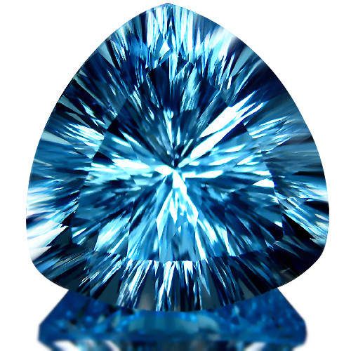 10.70Cts Sparkling Natural Swiss Blue Topaz Trillion Can Cave  Cut Loose Ge