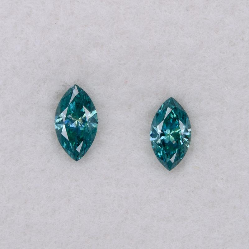 0.17 ct of 2 pcs Loose Natural Blue Diamond Pair Pear 4.0x2.2mm