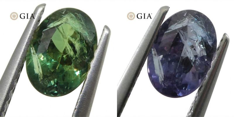 0.88ct Oval Blue-Green to Purple Alexandrite GIA Certified Brazil