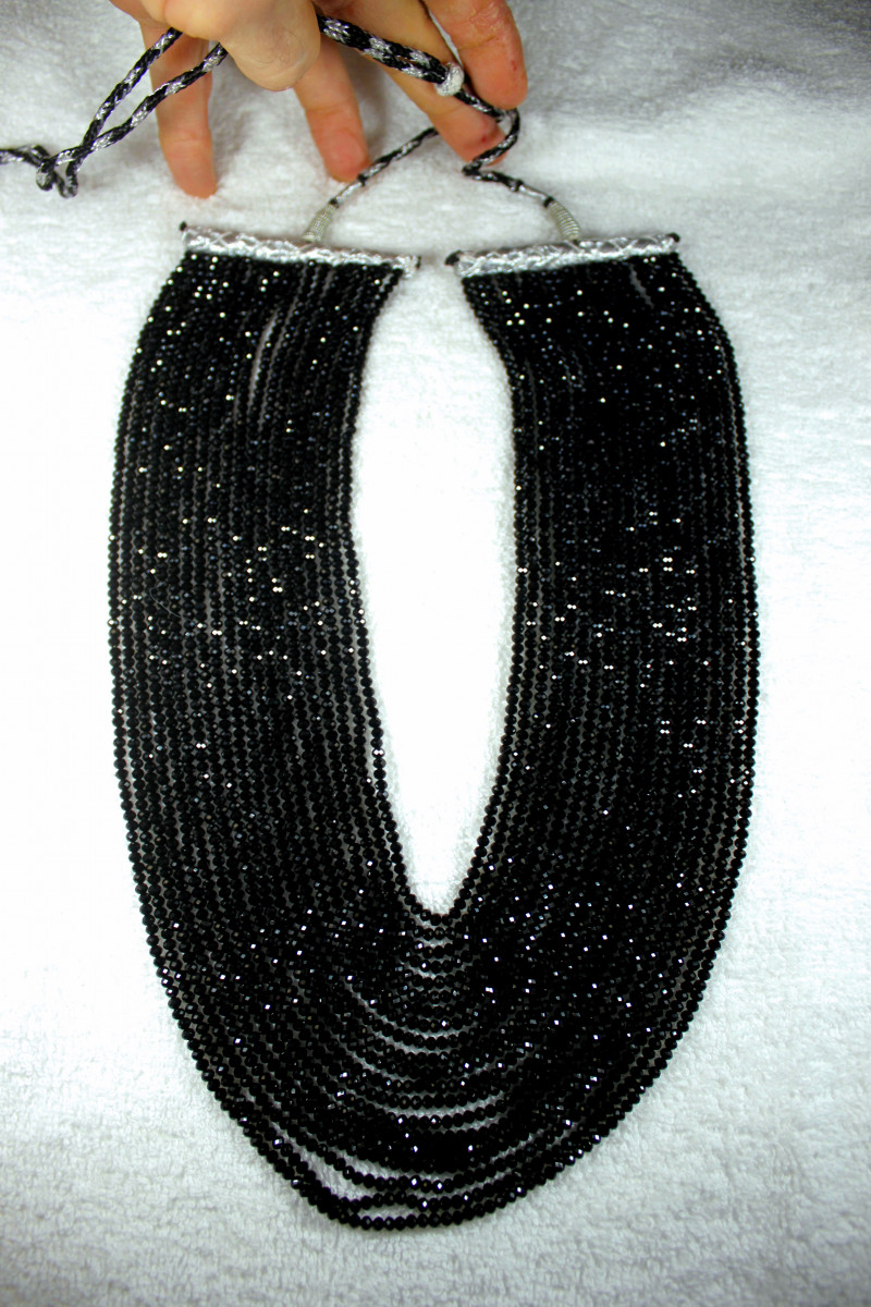 915.0 Tcw. Faceted 20 Strand Black Spinel Necklace - Gorgeous